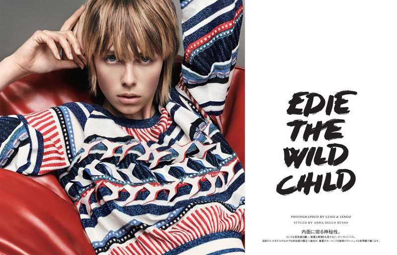 Edie Campbell models the spring collections for Vogue Japan