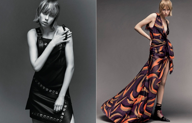 (L) Edie Campbell poses in little black dress (R) Edie models a Versace gown