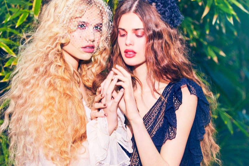 The models look like fairies with their wavy tresses and dreamy wardrobe
