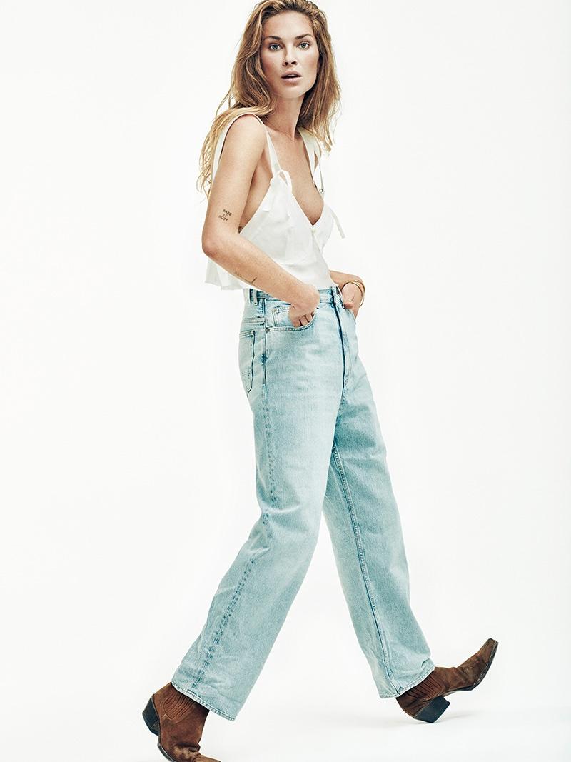 Erin Wasson tries on boyfriend fit jeans