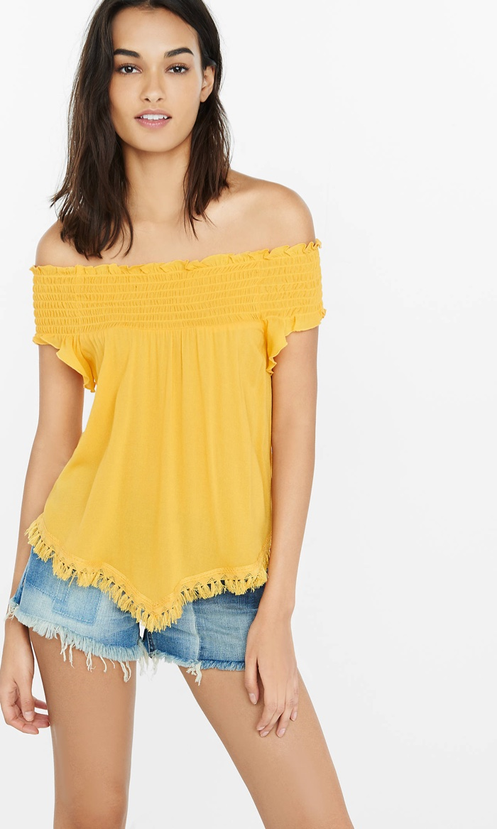 Express Smocked Off the Shoulder Top in Saffron Yellow