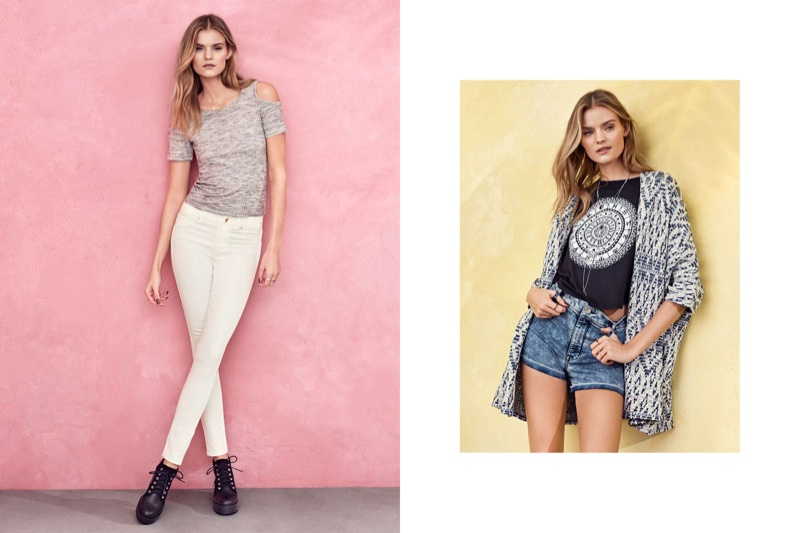 (L) H&M Fine Knit Top with Cut-Out Shoulders, Slim Fit Pants and Platform Boots (R) H&M Cropped T-Shirt and High-Waist Shorts
