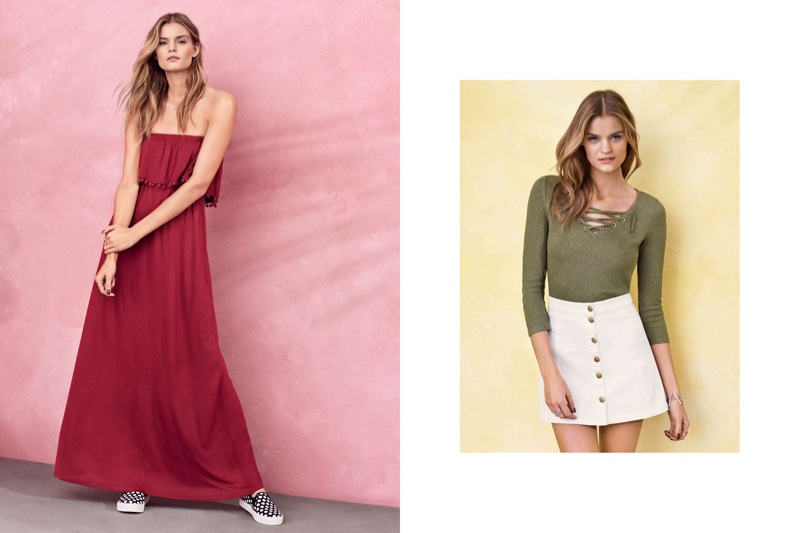 (L) H&M Strapless Maxi Dress and Polka Dot Print Slip-On Sneakers (R) H&M Lace-up Fine Knit Top and A-Line Mini Skirt