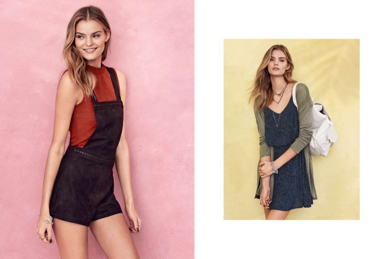 (L) H&M Sleeveless Top and Bib Overall Shorts (R) Fine-knit Cardigan, Sleeveless Dress and Backpack