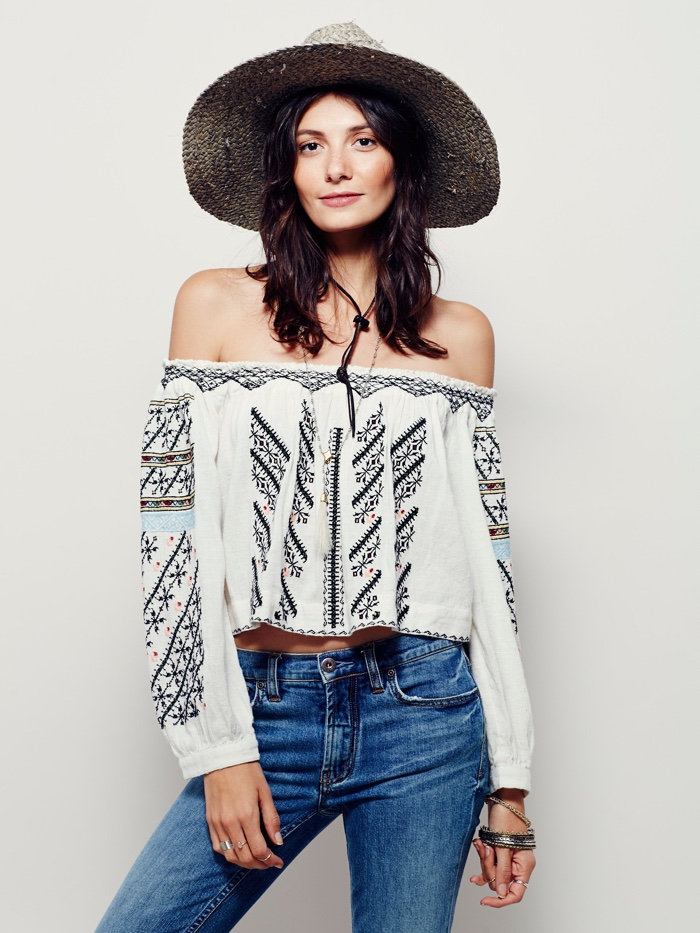 Free People All I Need Embroidered Off the Shoulder Top