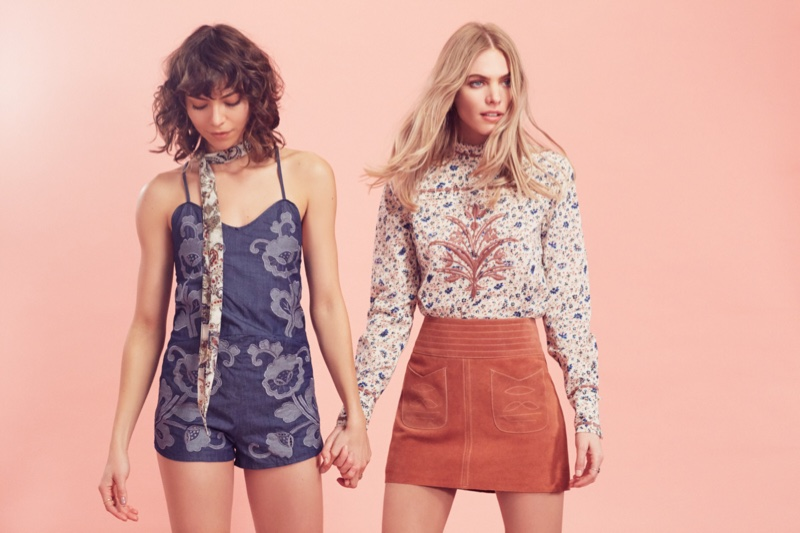 (Left) Free People Oh Darling Romper (Right) Free People Mad Love Suede Mini Skirt and Free People Wave of Innocence Printed Top
