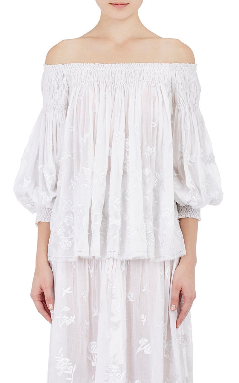 Gabriela Hearst Embroidered Peasant Top