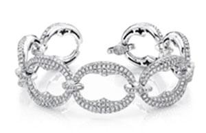 Uneek Pave Diamond Wide Link Bracelet in 18K White Gold Uneek Jewelry