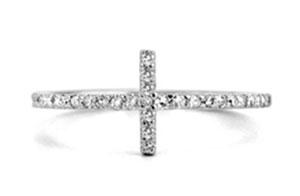 14K W/G CROSS DIAMOND RING Jean Pierre Jewelers