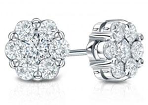 14k White Gold Prong-Set Cluster Round Diamond Earring