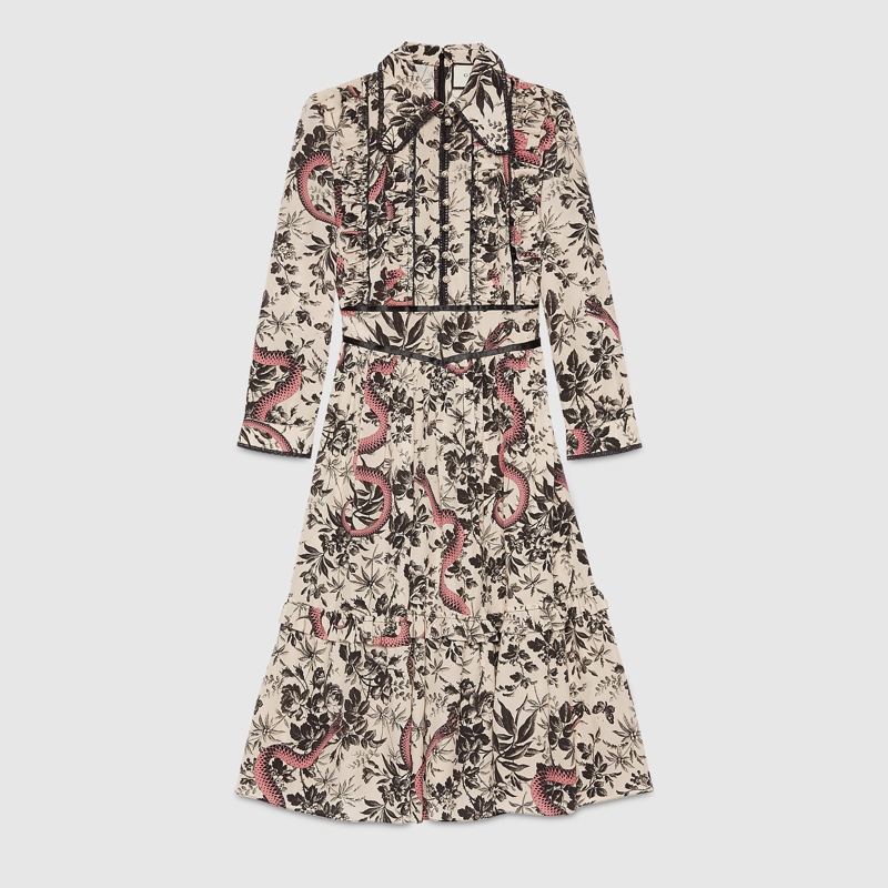 Gucci Herbarium Snake Silk Dress