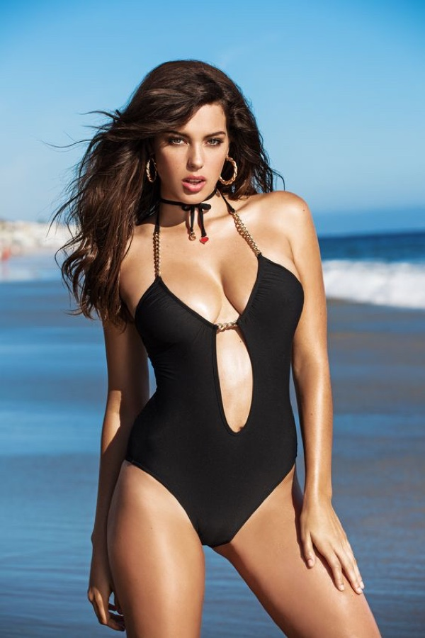 Guess Plunge-Neck Chain Monokini