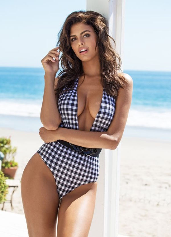 Guess Gingham Halter Neck One-Piece Swimsuit