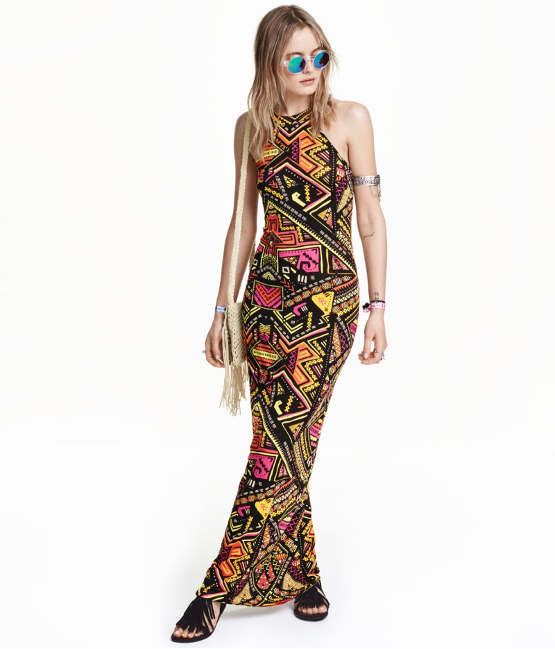 H&M Loves Coachella Patterned Maxi Dress with Tribal Print