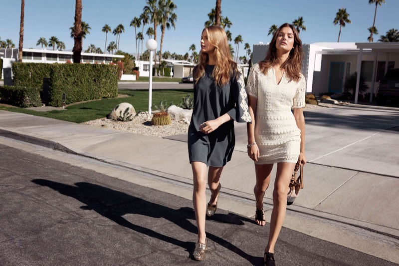 (Left) H&M Embroidered Dress (Right) H&M Lace Dress, Sandals with Fringe and Bucket Bag with Suede Details