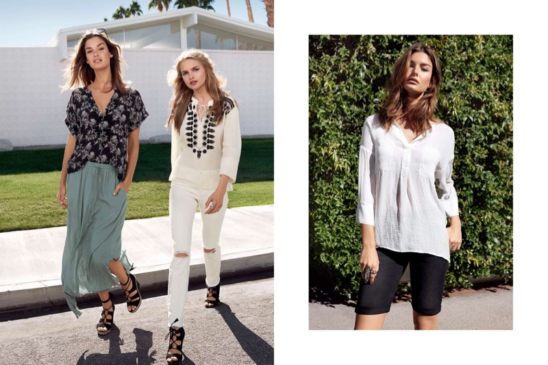 (Left) H&M Patterned Blouse and Long Skirt (Middle) H&M Embroidered Blouse and Slim Regular Jeans (Right) H&M V-Neck Blouse and Denim Shorts