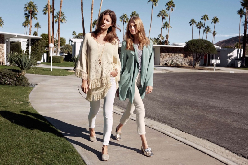 (Left) H&M Knit Sweater with Fringe, Slim-Fit Pants and Long Necklace (Right) H&M Lyocell Jacket, Jersey Top and Ankle-Length Slim Fit Pants