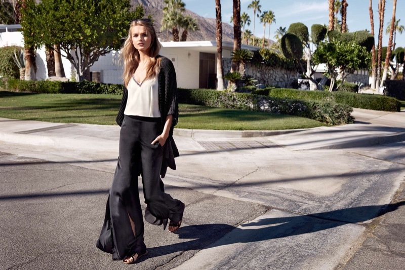 H&M Oversized Cardigan, Beaded Camisole Top, Wide-Leg Pants with Slits and Sandals with Fringe