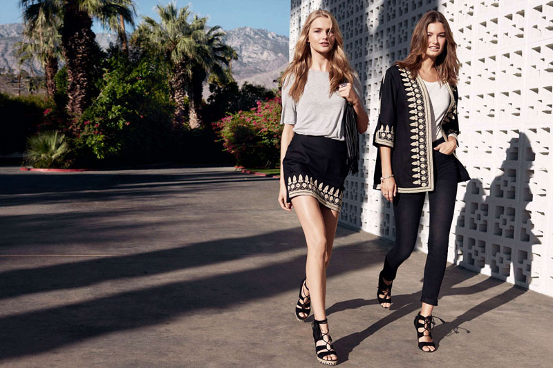 (Left) H&M Jersey Top, Embroidered Skirt, Suede Wedge-Heeled Sandals and Shoulder Bag (Right) H&M Embroidered Jacket, Linen T-Shirt, Slim-fit Pants with High Waist and Suede Sandals with Lacing