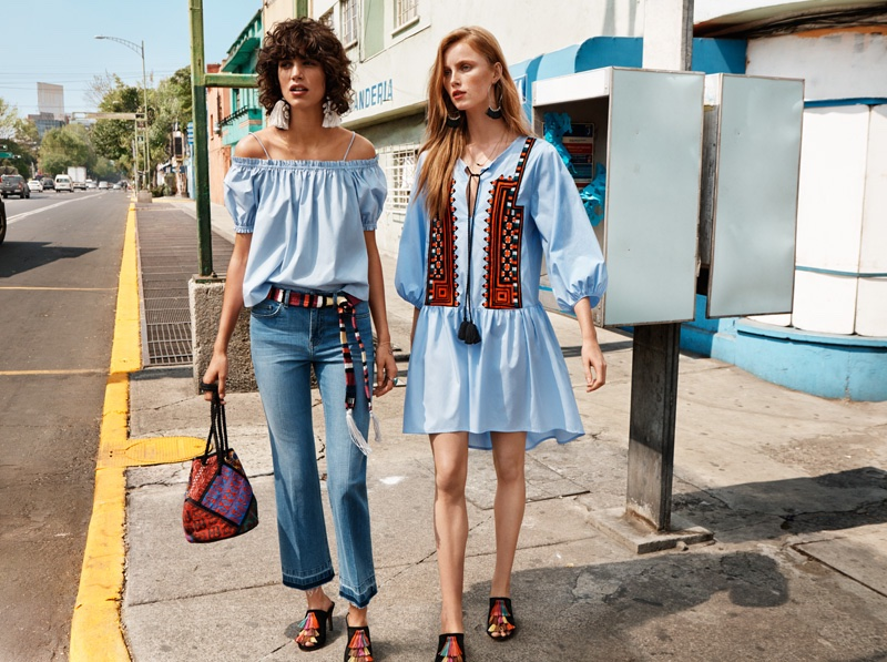 Rianne van Rompaey and Mica Arganaraz star in H&M's spring 2016 campaign