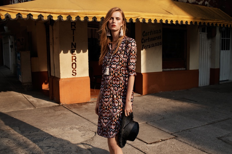 Rianne van Rompaey models a printed dress from H&M's spring 2016 collection