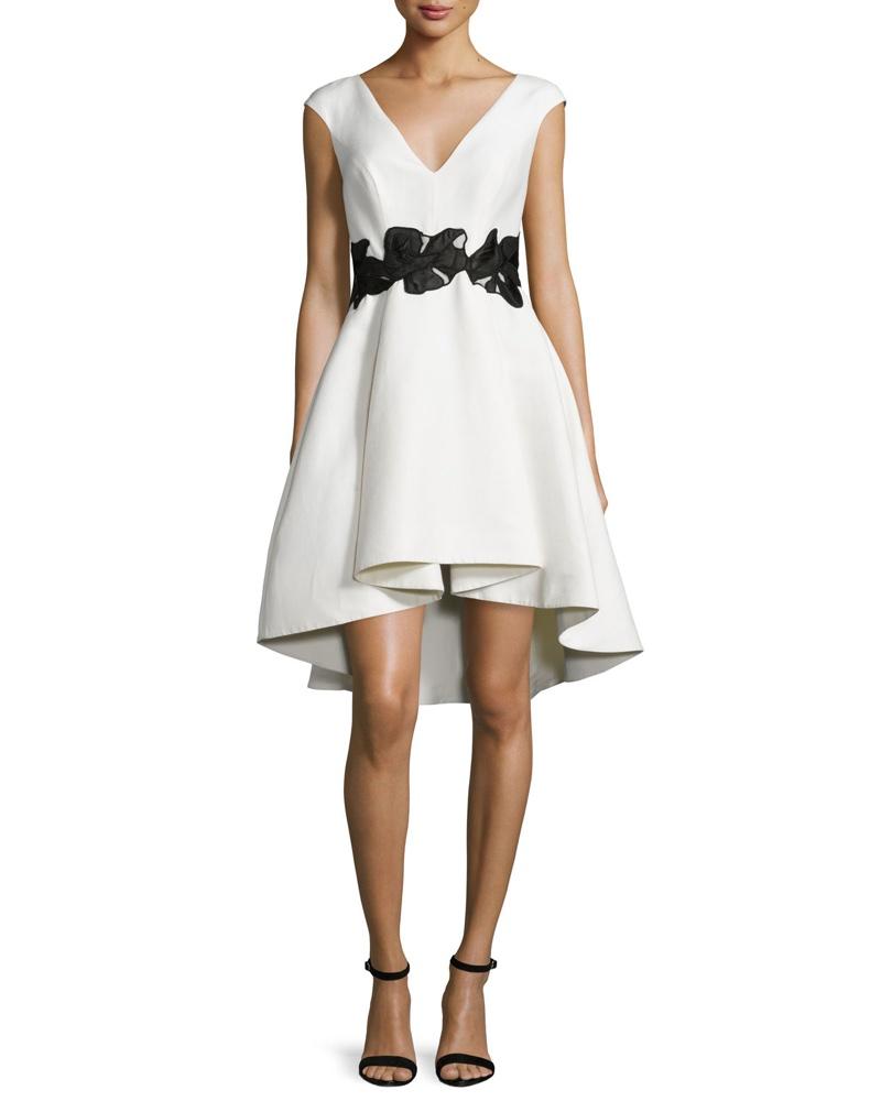 Halston Heritage Cap Sleeve V Neck Fit & Flare Dress