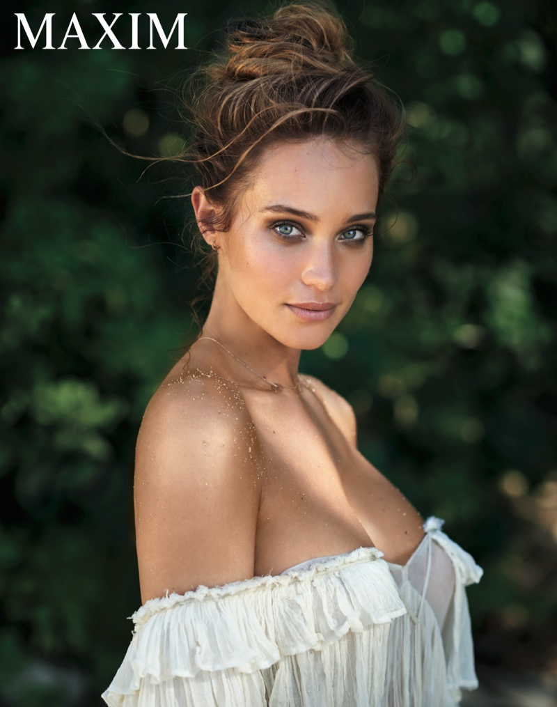 Hannah Davis wears an off-the-shoulder ruffled top for the feature
