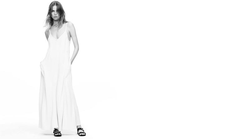 Helmut Lang Crepe Slip Dress and Barneys New York Braided Slingback Sandals