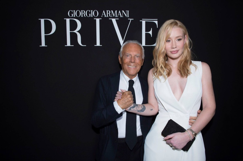 JANUARY 2016: Iggy Azalea and Giorgio Armani at Armani Prive's spring 2016 haute couture show. Photo: Armani