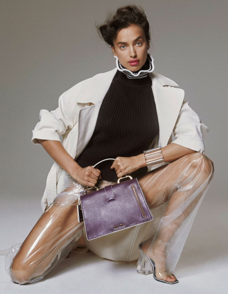 Serving up a high fashion look, Irina Shayk models see-through pants from Loewe