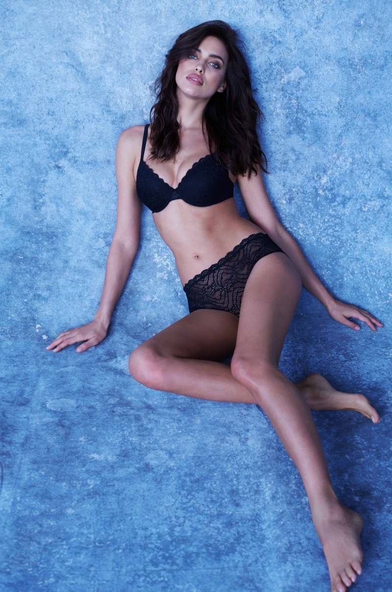 Irina Shayk poses in Intimissimi's Francesca bra for the brand's Perfect Bra book