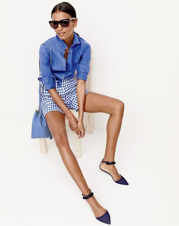 J.Crew Women's Perfect Shirt in Cotton-Linen, Lightweight Short in Gingham Linen, Betty Sunglasses and Pom-Pom Ankle Strap Flats