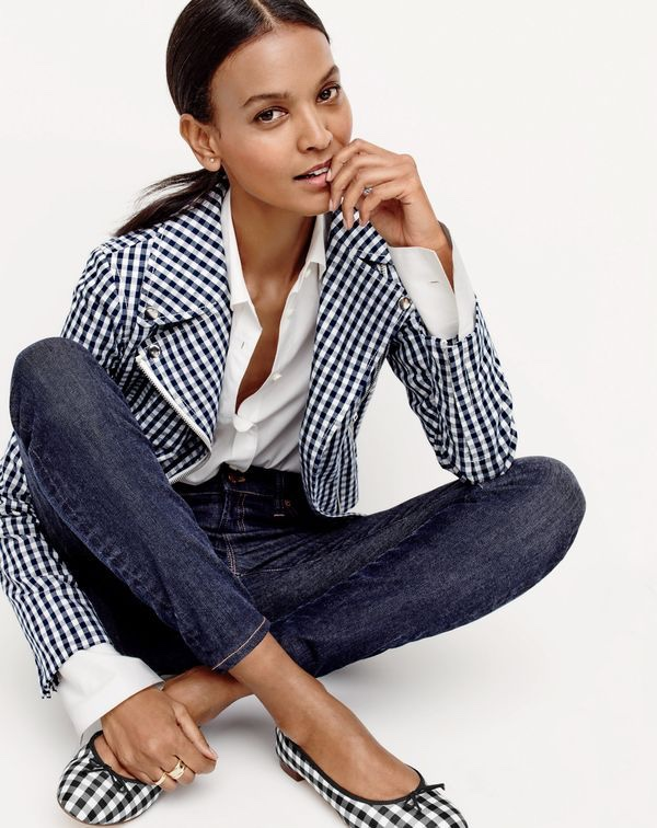 J.Crew Women's Motorcycle Jacket in Gingham, Thomas Mason® for J.Crew Boy Shirt, Lookout High-Rise Jean in Resin Wash and Kiki Ballet Flats in Gingham