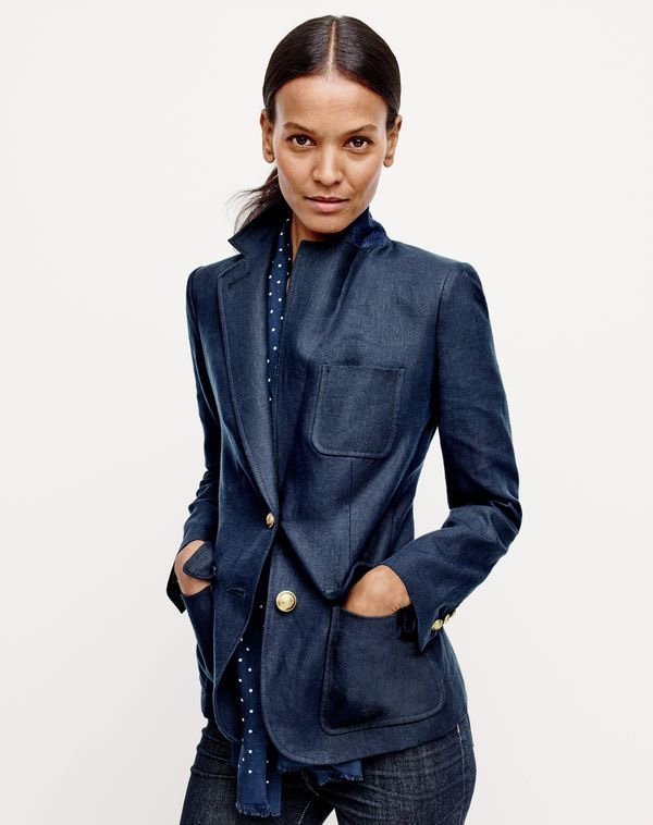 J.Crew Women's Rhodes Blazer in Linen, Lookout High-Rise Jean in Resin Wash and Men's Dotted Scarf