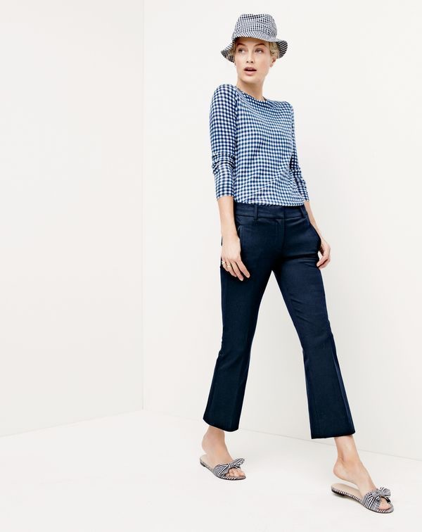 J.Crew Women's Tippi Sweater in Gingham, Teddie Pant, Bucket Hat in Gingham and Gingham Knotted Fabric Slides
