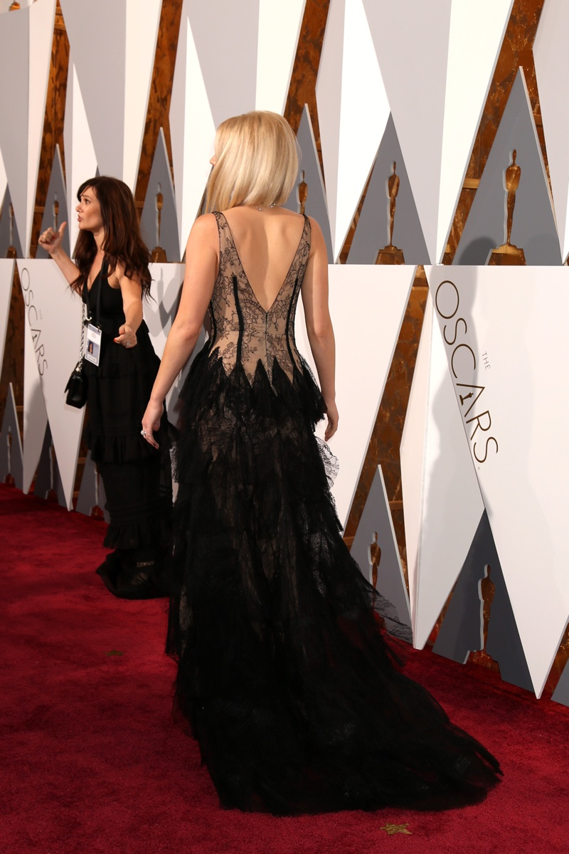OSCARS 2016 STYLE The back of Jennifer Lawrence's Dior gown featuring tiers of black lace. Photo: Helga Esteb / Shutterstock.com