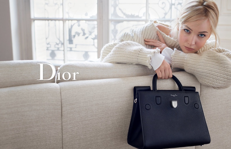 Jennifer Lawrence models a Dior sweater and Diorama bag in the brand's spring 2016 handbag campaign