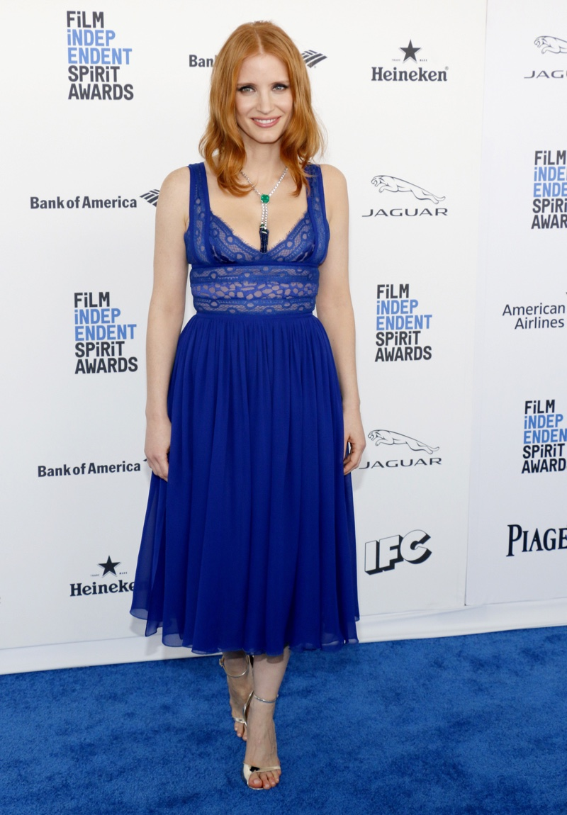 FEBRUARY 2016: Jessica Chastain attends the 2016 Independent Spirit Awards wearing a blue Elie Saab dress. Photo: Tinseltown / Shutterstock.com
