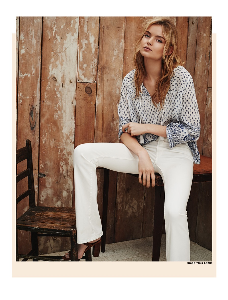 Soft Joie Deandra Paisley Top, Joie Nouveau Flare Jeans and Joie Alexus Sandals