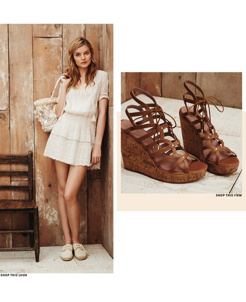 (Left) Joie Laton Embroidered Eyelet Dress, Figue Medium Heidi Tuk Tuk Bag and Joie Wallie Espadrille Sneakers (Right) Joie Larissa Wedge Sandals