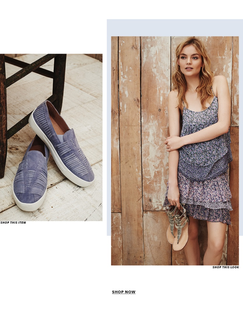 (Left) Joie Huxley Slip On Sneakers (Right) Joie Goja Floral Top, Joie Tiarella Ruffle Skirt and Joie Eri Sandals