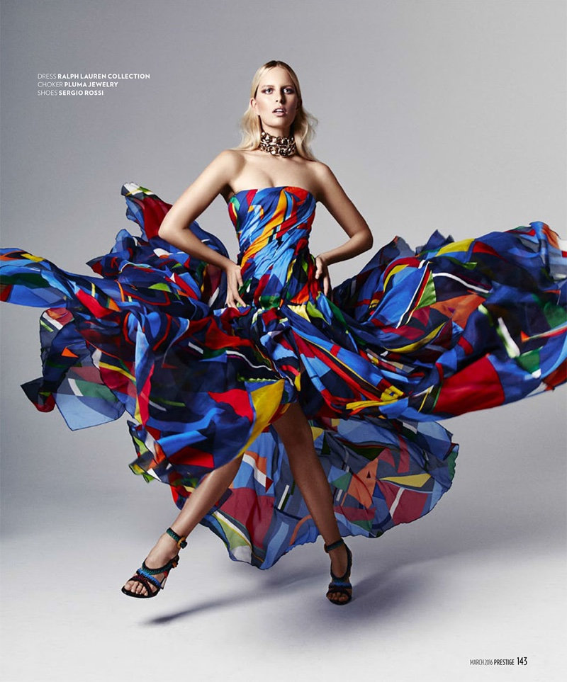 Karolina gets moving in a graphic print dress from Ralph Lauren Collection