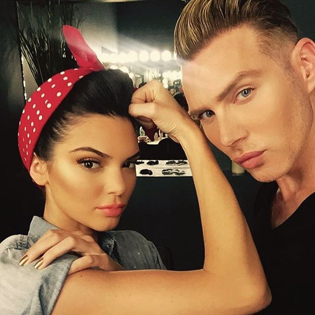 Kendall Jenner poses as Rosie the Riveter behind the scenes at Rock the Vote campaign. Photo: Instagram