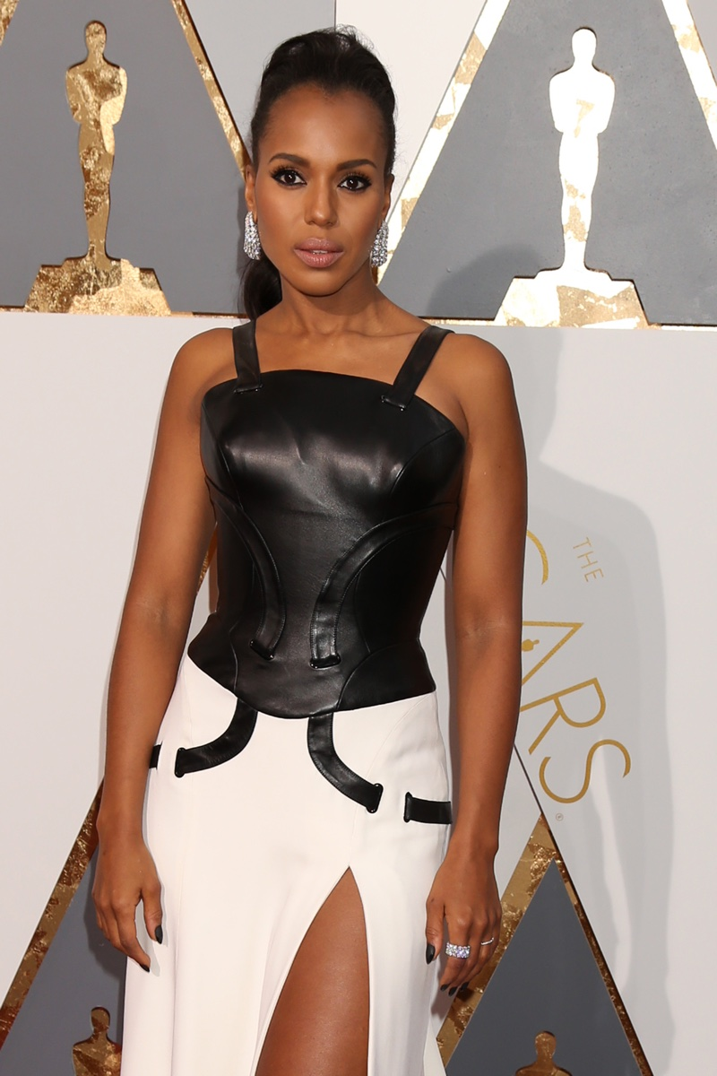 FEBRUARY 2016: Kerry Washington attends the 2016 Oscars wearing an Atelier Versace dress with a leather bustier. Photo: Helga Esteb / Shutterstock.com