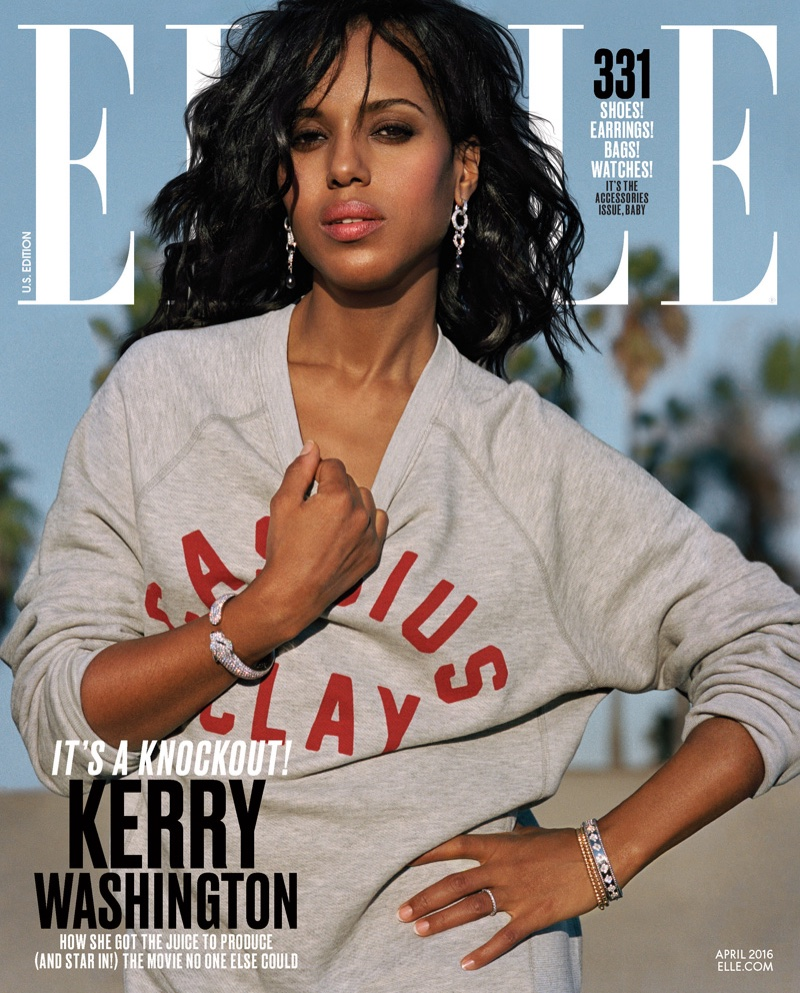 Kerry Washington on ELLE Magazine April 2016 Cover