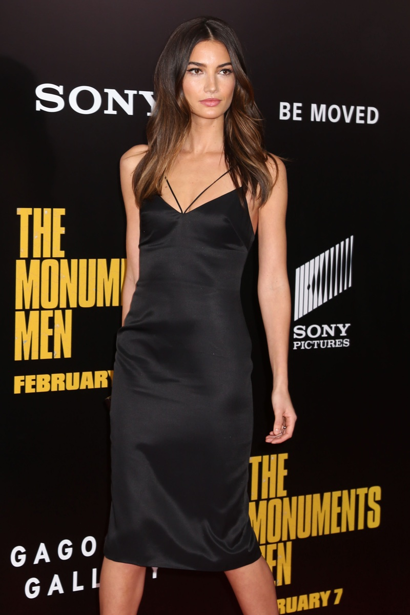Lily Aldridge kept it simply minimal in a black mid-length slip dress at the premiere of The Monuments Men. Photo: JStone / Shutterstock.com