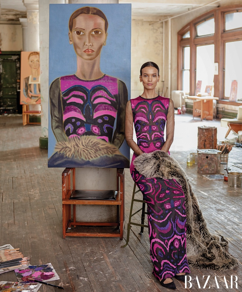 Liya Kebede poses next to Francesco Clemente portrait. Photo: Harper's Bazaar / Jason Schmidt