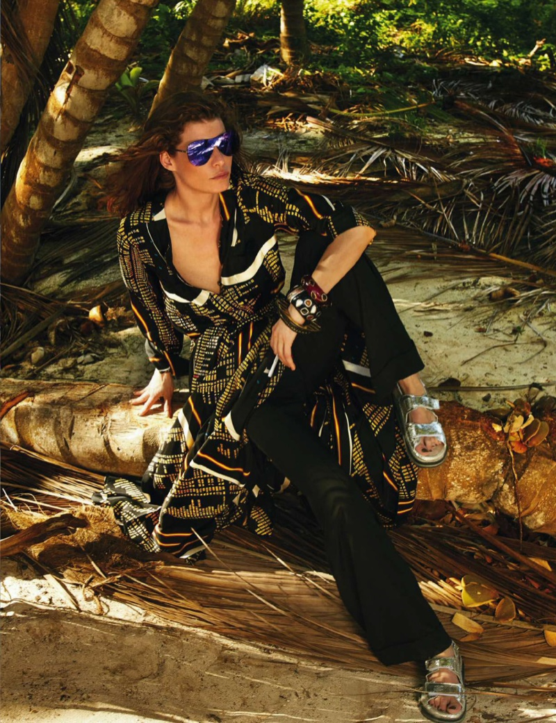Louise Pedersen lounges in a Chanel top and pants