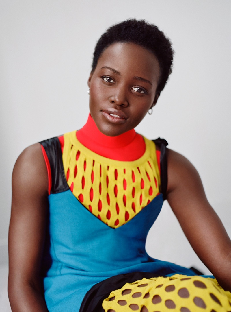 The Kenyan actress shines in a Marni color-blocked look