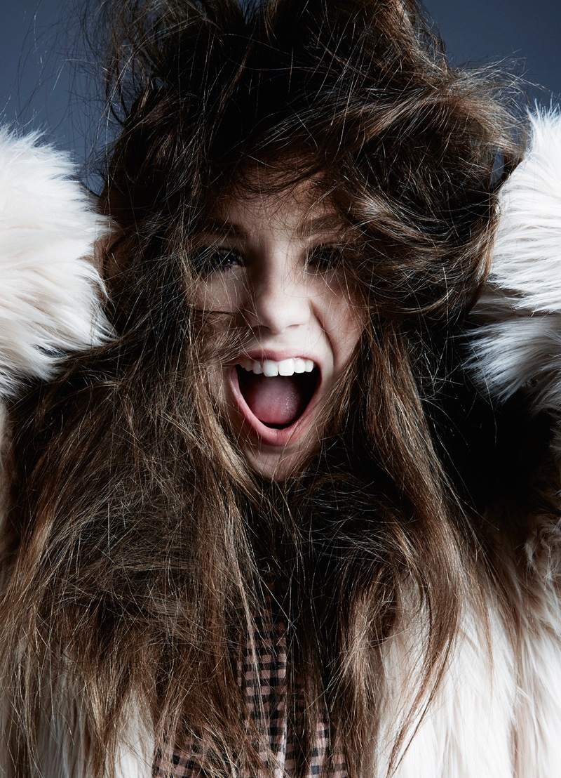 Photographed in a fur coat and Drome shirt, Maddie Ziegler stars in Hunger Magazine. Photo: David Roemer